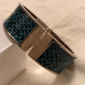 Cuff bracelet- silver & printed snakeskin